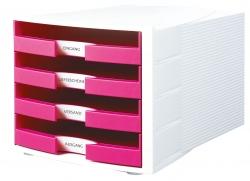 Schubladenbox IMPULS, DIN A4/C4, 4 offene Schubladen, weiß-Trend Colour pink