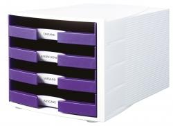 Schubladenbox IMPULS, DIN A4/C4, 4 offene Schubladen, weiß-Trend Colour lila