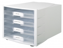 Schubladenbox IMPULS, DIN A4/C4, 4 offene Schubladen, lichtgrau transluzent-klar