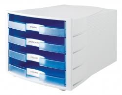 Schubladenbox IMPULS, DIN A4/C4, 4 offene Schubladen, lichtgrau transluzent-blau