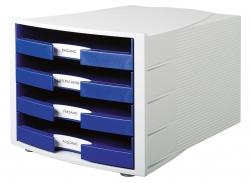 Schubladenbox IMPULS, DIN A4/C4, 4 offene Schubladen, blau
