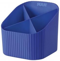 Schreibköcher X-LOOP - 4 Fächer, blau