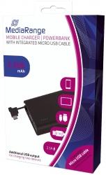 Mobile Charger | Powerbank 5.200 mAh mit integriertem Ladekabel und einem zus. USB-Anschluss