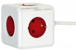 Powercube Extended - Tischsteckdosensortiment, 5fach weiß/rot