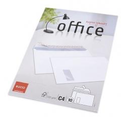 Briefumschlag Office, C4, hochweiß, haftklebend, mit Fenster, 80 g/qm, 10 Stück