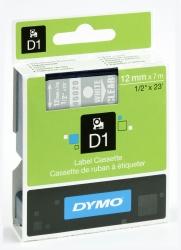 Schriftband D1, Kunststoff, laminiert, 7 m x 12 mm, Weiß/Transparent