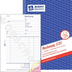 1731 Rechnung, DIN A5, selbstdurchschreibend, 3 x 40 Blatt, weiß, gelb, rosa