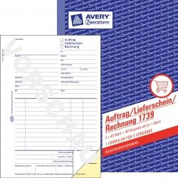 1739 Auftrag/Lieferschein/Rechnung, DIN A5, selbstdurchschreibend, 2 x 40 Blatt, weiß, gelb