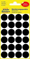 3003 Markierungspunkte - Ø 18 mm, 4 Blatt/96 Etiketten, schwarz