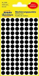 3009 Markierungspunkte - Ø 8 mm, 4 Blatt/416 Etiketten, schwarz