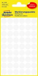 3145 Markierungspunkte - Ø 12 mm, 5 Blatt/270 Etiketten, weiß