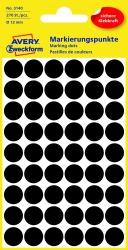 3140 Markierungspunkte - Ø 12 mm, 5 Blatt/270 Etiketten, schwarz