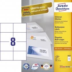 3427 Universal-Etiketten - 105 x 74 mm, weiß, 800 Etiketten/100 Blatt, permanet