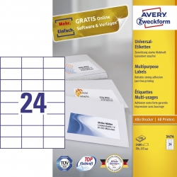 3474 Universal-Etiketten - 70 x 37 mm, weiß, 2.400 Etiketten/100 Blatt, permanent