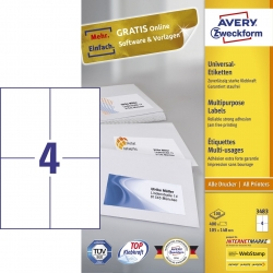 3483 Universal-Etiketten - 105 x 148 mm, weiß, 400 Etiketten/100 Blatt, permanent