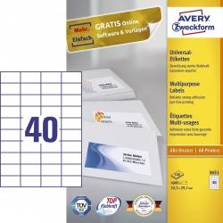 3651 Universal-Etiketten - 52,5 x 29,7 mm, weiß, 4.000 Etiketten/100 Blatt, permanent