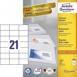 3652 Universaletiketten - 70 x 42,3 mm, weiß, 2.100 Etiketten/100 Blatt, permanent