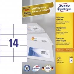 3653 Universal-Etiketten - 105 x 42,3 mm, weiß, 1.400 Etiketten/100 Blatt, permanent