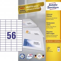 3668 Universal-Etiketten - 52,5 x 21,2 mm, weiß, 5.600 Etiketten/100 Blatt, permanent