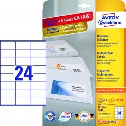 3490 Universal-Etiketten - 70 x 36 mm, weiß, 720 Etiketten/30 Blatt, permanent