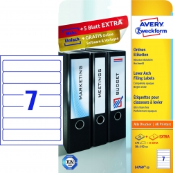 L4760-25 Ordner-Etiketten, 38 x 192 mm, schmale Ordner (kurz), 30 Bogen/210 Etiketten, weiß