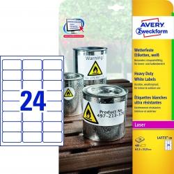 L4773-20 Wetterfeste Folien-Etiketten (A4, 480 Stück, 63,5 x 33,9 mm) 20 Blatt weiß