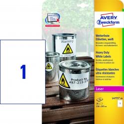 L4775-20 Wetterfeste Folien-Etiketten (A4, 20 Stück, 210 x 297 mm) 20 Blatt weiß