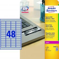 L6009-20 Typenschild-Etiketten - A4, 960 Stück, 45,7 x 21,2 mm, wetterfest, 20 Blatt silber