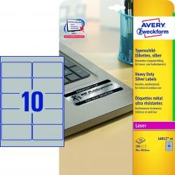L6012-20 Typenschild-Etiketten - A4, 200 Stück, 96 x 50,8 mm, wetterfest, 20 Blatt silber