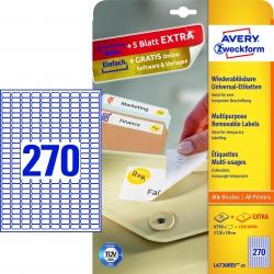 L4730REV-25 Universal-Etiketten - 17,8 x 10 mm, weiß, 8.100 Etiketten/30 Blatt, wiederablösbar