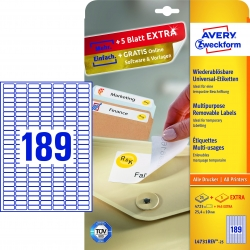L4731REV-25 Universal-Etiketten - 25,4 x 10 mm, weiß, 5.670 Etiketten/30 Blatt, wiederablösbar
