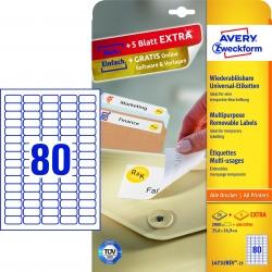 L4732REV-25 Universal-Etiketten - 35,6 x 16,9 mm, weiß, 2.400 Etiketten/30 Blatt, wiederablösbar
