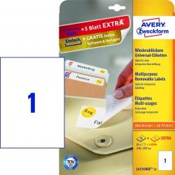 L4735REV-25 Universal-Etiketten - 210 x 297 mm, weiß, 30 Etiketten/30 Blatt, wiederablösbar