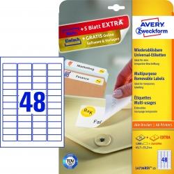 L4736REV-25 Universal-Etiketten - 45,7 x 21,2 mm, weiß, 1.440 Etiketten/30 Blatt, wiederablösbar