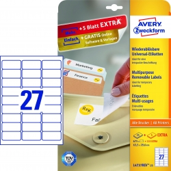 L4737REV-25 Universal-Etiketten - 63,5 x 29,6 mm, weiß, 810 Etiketten/30 Blatt, wiederablösbar