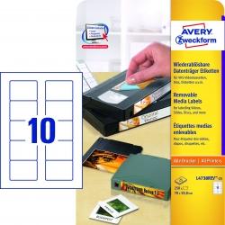 L4738REV-25 Etiketten für Disketten, wiederablösbar, 70 x 50,8 mm, 25 Blatt/250 Etiketten, weiß