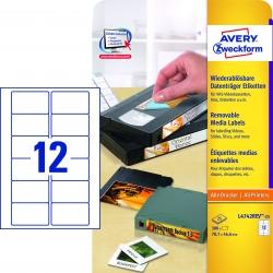 L4742REV-25 Etiketten für VHS-Videokassetten, wiederablösbar, 78,7 x 46,6 mm, 25 Blatt/300 Etiketten, weiß
