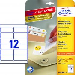 L4743REV-25 Universal-Etiketten - 99,1 x 42,3 mm, weiß, 360 Etiketten/30 Blatt, wiederablösbar