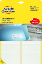 3350 Adress-Etiketten - 95 x 47 mm, selbstklebend, 240 Stück