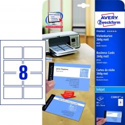 C32015-10 Premium Visitenkarten, 85 x 54 mm, Inkjet-Spezialbeschichtung beidseitig - matt, 10 Blatt/80 Stück