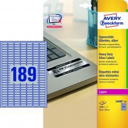 L6008-20 Typenschild-Etiketten - A4, 3.780 Stück, 25,4 x 10 mm, wetterfest, 20 Blatt silber