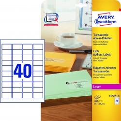 L4770-25 Adress-Etiketten (A4, 1.000 Stück, 45,7 x 25,4 mm) 25 Blatt transparent