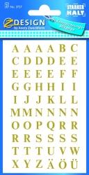 3721 Buchstaben-Etiketten - A-Z, 7,5 mm, gold, selbstklebend, witterungsbeständig, 120 Etiketten