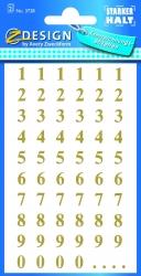 3728 Zahlen-Etiketten - 0-99, 7,5 mm, gold, selbstklebend, witterungsbeständig, 124 Etiketten