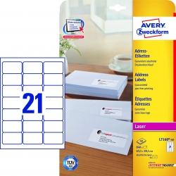 L7160-40 Adress-Etiketten (A4, 840 Stück, 63,5 x 38,1 mm) 40 Blatt weiß