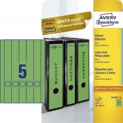 L4750-20 Ordner-Etiketten - schmal/lang, (A4 - 20 Blatt) 100 Stück, grün
