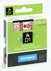Schriftband D1, Kunststoff, laminiert, 7 m x 12 mm, Rot/Weiß