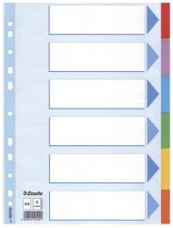 Register - blanko, Karton, A4, 6 Blatt, weiß, farbige Taben