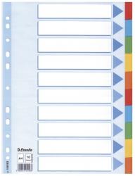 Register - blanko, Karton, A4, 10 Blatt, weiß, farbige Taben