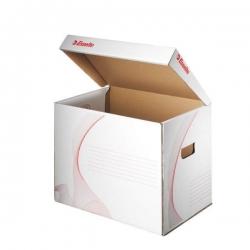 Archivcontainer mit Klappdeckel, A4, Wellpappe, weiß